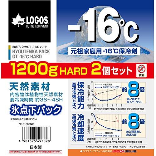 ロゴス 保冷剤 氷点下パックGTマイナス16度ハード1200・2個パック