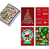 Box Set 20 Festive Christmas Cards: Assorted Designs in Attractive Box with Envelopes, Adorable! by Rockwell
