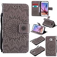 OMATENTI Samsung Galaxy S6 ケース カード収納 おしゃれ 高級感 手帳型ケース 衝撃吸収 落下防止 防塵 マグネット開閉式 プロテクター Samsung Galaxy S6 対応 (2- グレー)