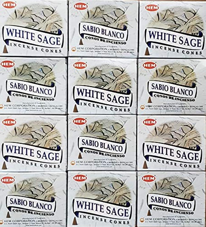 無条件描写アノイお香 ホワイトセージ 12箱入り コーンタイプ 送料無料