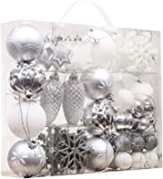 Hannah's Cottage 50pcs Christmas Balls Xmas Decoration Set Frozen, Shatterproof Baubles Tree Ornaments, 1.2inch-3inch/3cm-8cm, Include Hanging Rope(Silver White)