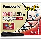 パナソニック 2倍速ブルーレイディスク片面2層50GB(書換)5枚+1枚