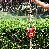 Homeland 花ポットハンガー 鉢植え用 バスケット DIY綿ロープ 植木鉢 ガーデンポット 廊下飾り ベージュ
