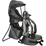 (Grey) - Clevr Cross Country Baby Backpack Carrier with Stand and Sun Visor Shade Child Kid Toddler, Grey, Upgraded Foot Stra