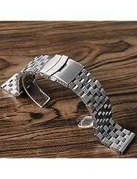 シルバーステンレススチールウォッチストラップブラッシュ仕上げ時計バンドブレスレットダブルロック留め 金属ベルト (シルバー, 24mm)
