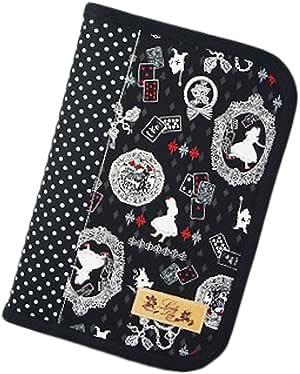 ラブリーリリー(Lovely Lily) 手作り母子手帳ケース M ラウンドファスナータイプ 2人分収納可能 アリス柄 ブラック RB9007MBK