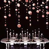 Rose Gold Circle Dot Garland Streamer Kit for Twinkle Star Party Decoration Glitter Reflective Paper Hanging Bunting Banner B