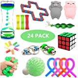 Sensory Fidget Toys Set, 24 Pack, Stress Relief and Anxiety Tools Bundle for Kids and Adults, Include Liquid Motion Timer, Me