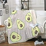 Bedbay Avocado Blanket Fruit Throw Blanket Sherpa Fleece Blanket Lovely Avocado Printed Design Soft Warm Pink Blanket for Kid