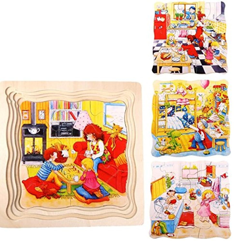 HuaQingPiJu-JP 創造的な木製の漫画の多層パズルアーリーラーニング番号の形の色の動物のおもちゃキッズのための素晴らしいギフト(ホーム)