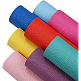 8 Pieces 8x12 Inch Bright Color Litchi Grain Texture Faux Leather Sheets Including 8 Color Leather Sheets for Leather Bows an