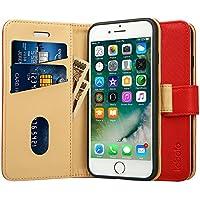 Labato iphone8ケース iphone7ケース 手帳型 人気 カード収納 財布型 スタンド機能 耐衝撃 耐摩擦 TPU シリコン 高級PUレザー アイフォン7ケース 100%手作り iPhone7 カバー マグネット式 ブランド スマホケース メーカー直営 (lbt-IP7-17D30, レッド)