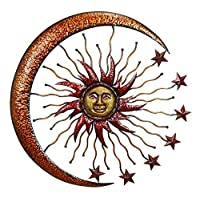 Deco 79 42770 Metal Sun Moon Wall Decor 36 【Creative Arts】 [並行輸入品]