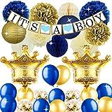 ベビーシャワー飾り 出産お祝いパーティーデコレーション 誕生日飾りつけ 男の子 子供 ベビーシャワー 出産お祝い ブルー ゴールド部屋 装飾 39枚セット