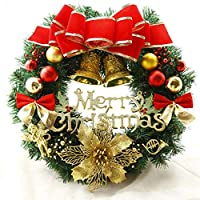 CHENNI - クリスマスリース Decoration円をぶら下げクリスマス装飾ドア 人工シミュレーションリース 文字付き 屋内 直径30cm / 40cm / 50cm (Size : 40cm)