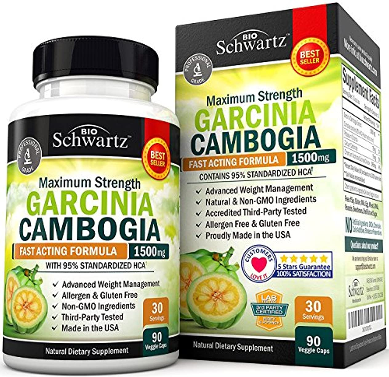 雨罰ロデオBioSchwartz ガルシニア カンボジア Garcinia Cambogia 95% HCA 1500mg 90粒