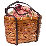 (キョウエツ) KYOETSU かわいい竹かご巾着バッグ 浴衣 和柄 レトロ kg-06 (かご-茶×ピンク系)