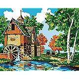 CaptainCrafts 新しい DIY 数字油絵 キット大人のための40 x 50 cmの絵画 初心者の子供たち - リバーサイドコテージ (フレームレス)