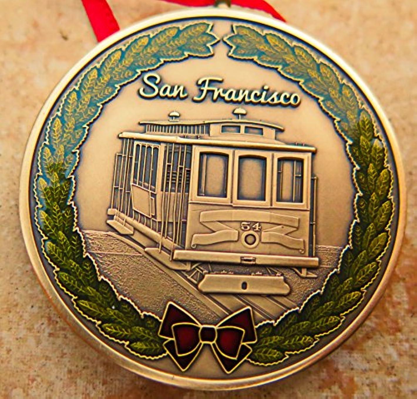 イブニングそよ風環境San Franciscoクリスマスオーナメントdkc-1603-b San Francisco Cable CarクリスマスオーナメントカスタムHand Engraved Mintedアンティーク真鍮の1.75