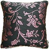 クッションカバー インポート 45x45cm トルコ製 マデリーン 花 織物 ピンク ブラック