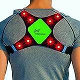 Wildsaver製LED & USB充電式反射ベスト| 軽量ライクラ&メッシュ ポケット2つ付き 夜間のランニング バイク運転 サイクリング ウォーキング ジョギング用高い可視性と安全性 男性 女性 子供用 グリーン