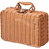 ZZQ ピクニックバスケット ピクニック かご バスケット 行楽 収納 保冷 おしゃれ 蓋付き お弁当箱 かごバッグ