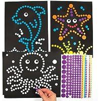 シーライフ?ドットシール アート(8シート)心のこもった素敵な手作りカードや子供達の工作に