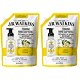 JR Watkins Foaming Hand Soap Refill Pouch, Lemon, 2 Pack, Scented Foam Handsoap for Bathroom or Kitchen, USA Made and Cruelt