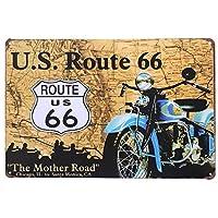 [ファン] Fun! ブリキ看板 ルート66 ind1 ポスター インディアンバイク アメリカン雑貨 ビンテージ