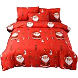 SISHER Single Duvet Cover Sets Santa Claus Pattern Quilt Duvet Cover and 1 Pillowcase Bedding Bed Set, Red, 150 * 200cm