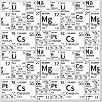 Barewalls化学要素から周期表、ブラックとホワイトシームレスなパターン用紙印刷壁アート 42in. x 42in.