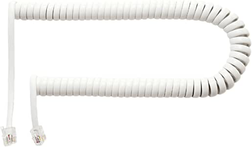 ミヨシ MCO 受話器用カールコード クロス結線 収縮時0.3m ホワイト 片側10cm DC-J403L/WH