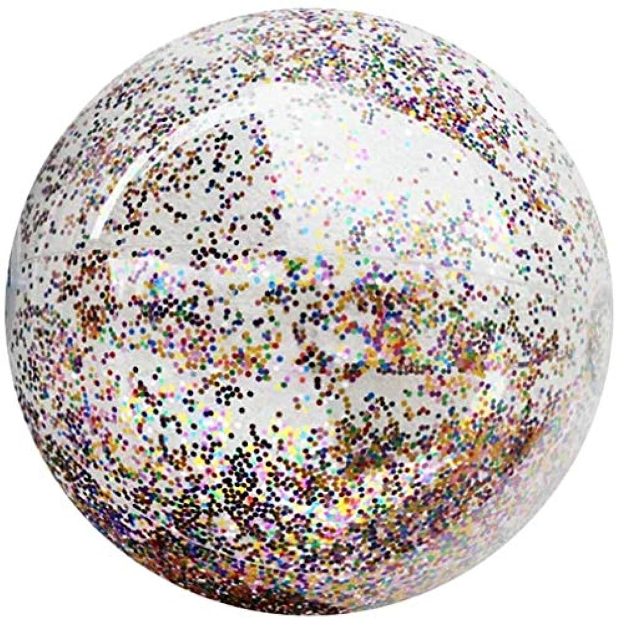 郡重量マーガレットミッチェルHLD 24インチビーチボール透明スパンコールバルーンスイミングボール - プールおもちゃのためにキッズ、キッズ大インフレータブルビーチボール、ビーチおもちゃ、夏のおもちゃ、夏の誕生日パーティーの好意のために