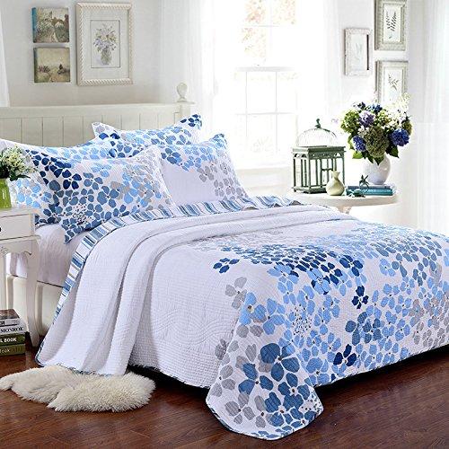 君のホームカザリ ベッドカバー 3点セット キルト ベッドスプレッド ソファーカバー ケイーン キング用 100%綿 青い花(T)
