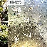 Rabbitgoo 3D ガラスフィルム 窓用フィルム 目隠しシート 断熱/紫外線カット 無接着剤 再利用可能 プライバシーガラスフィルム DIY (90 x 200cm)