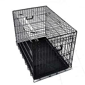 プチリュバン ダブルドア 折りたたみ式 ペットケージ Lサイズ ブラック トレイ付 スチール製 犬用