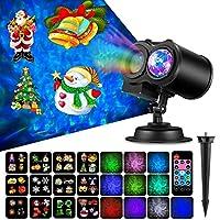 クリスマスランタン12パターンダブルバレル水線カード投影ランプ角度調整可能な取り外し可能なクリスマスの装飾屋内屋外パーティー