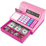 Learning Resources Pretend & Play Calculator Cash Register, Classic Counting Toy, 73 Pieces, Ages 3+,  for Kids, Pink