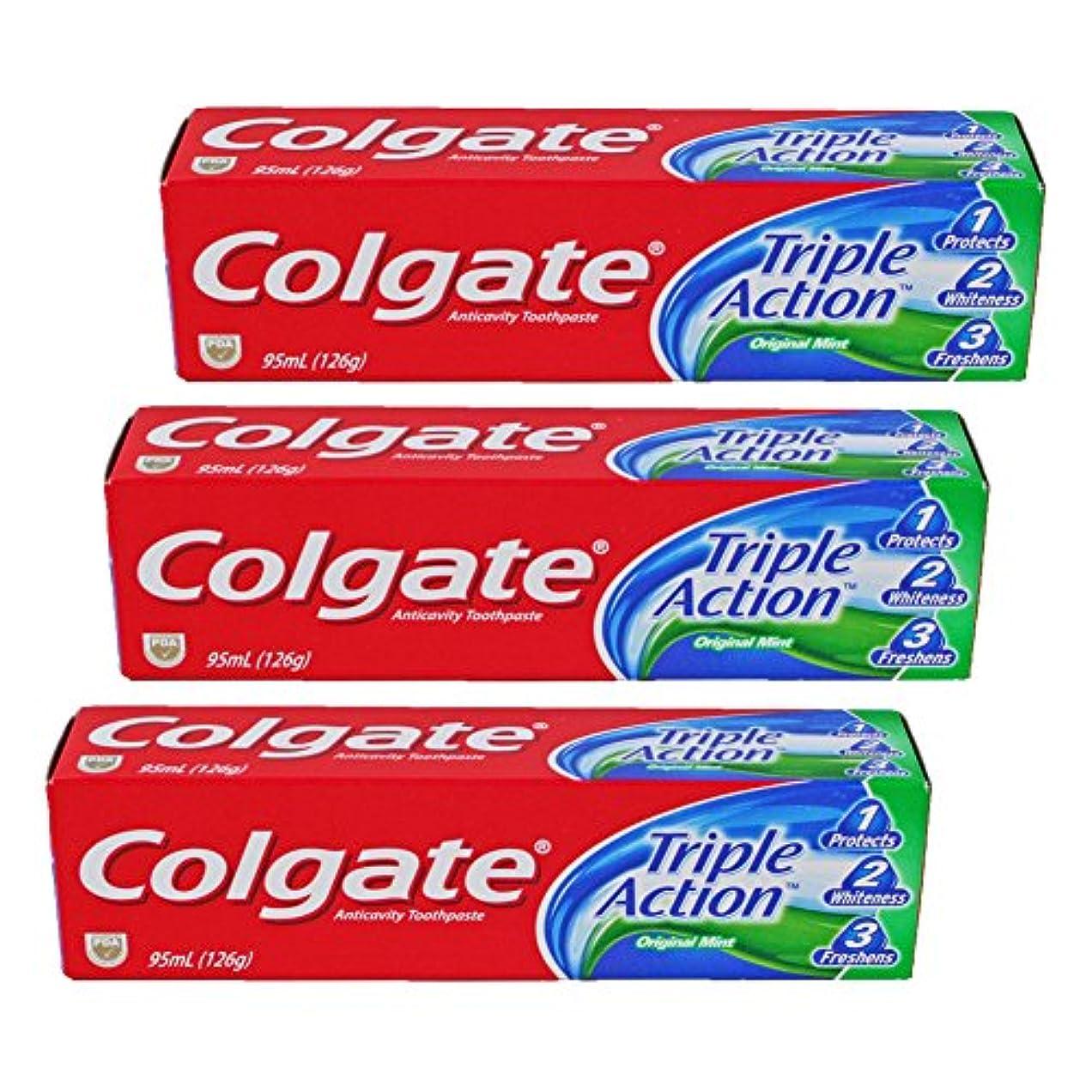 夏関税変色するコルゲート Colgate Triple Action (95mL)126g 3個セット [並行輸入品]