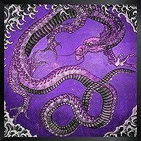 ArtVerse HOK096F1212A Japanese Dragon In Purple Framed Art Print 12 x 12 [並行輸入品]