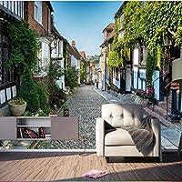 ヨーロッパの街の町の壁紙壁画の3Dプリント写真の壁紙ロール用リビングルームの壁の装飾風景花の壁紙