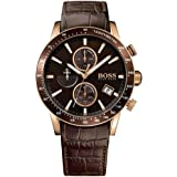 Hugo Boss Rafale Brown Leather Rose Gold Chrono Steel Men's Watch 1513392