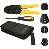 NUZAMAS Electrical Insulated Terminals Ferrules Ratchet Crimper Cable Crimping Tool Kit Wire Terminal Plier Screwdriver with
