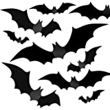 Halloween Party Indoor Outdoor Decor Supplies, 56 PCS Reusable PVC 3D Decorative Scary Bats Wall Sticker Comes with Double Si