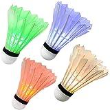 Ohuhu LED Badminton Shuttlecocks, Glow in The Dark Night Badminton Birdies Lighting Birdie for Outdoor Indoor Sports Activiti