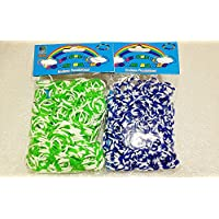 [Artasy ™][並行輸入品] DIY 4段 X 8段カラーゴムバンドブレスレット (グリーン x ホワイト + ブルー x ホワイト) Loom Bands refill Pack - (600 + 600 pcs) rubber ring Color: Green X White + Blue X White