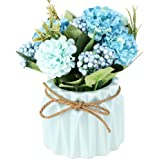 SUPNIU Artificial Hydrangea Bouquet with Ceramic Vase Fake Silk Variety Flower Balls Flowers Decoration forTable Home Party O