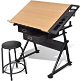 Tidyard Two Drawers Tiltable Tabletop Drawing Table with Stool Height Adjustable Drafting Draft Desk Drawing Table Desk Stora