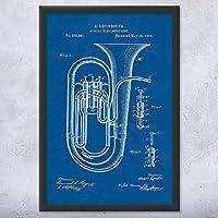 """フレーム付きコンサートTuba特許アート印刷 8"""" x 10"""""""