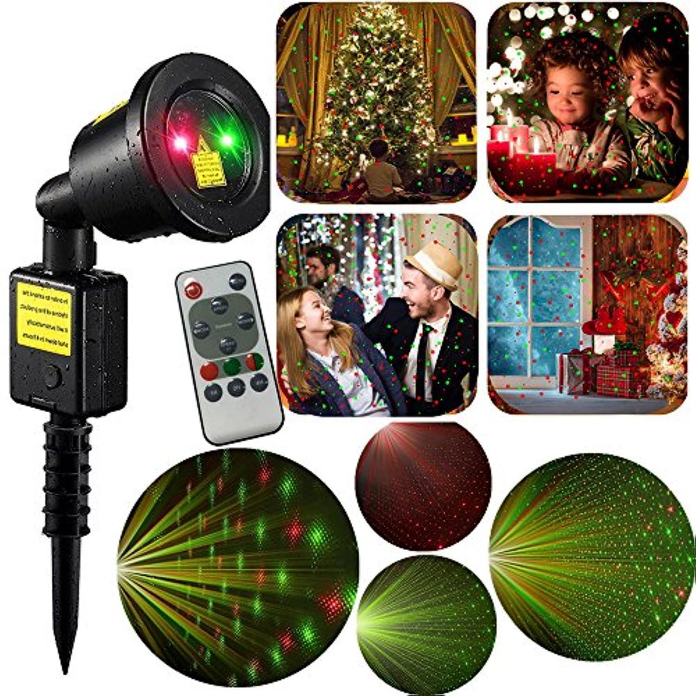 クリスマスLEDレーザーライトプロジェクター、ihoven防水屋外クリスマスレーザー投影ライトシャワーShow withリモートクリスマスHoliday Landscapeガーデンツリーデコレーション projector マルチカラー IH-OSL02
